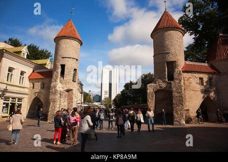 View to the Stone Towers of the Viru Gate in the old town,Tallinn, Estonia, Baltic States, Europe. - Stock Photo