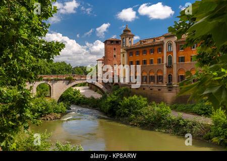 Tiber island in sunny day, Rome, Italy - Stock Photo