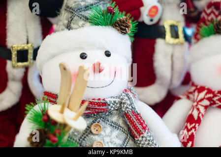 Christmas background with snowman and New Year decoration - Stock Photo