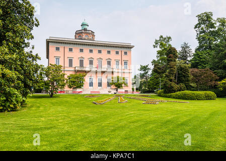 Lugano, Switzerland - May 28, 2016: The magnificent Villa Ciani is located in the heart of the park, Lugano, Switzerland, - Stock Photo