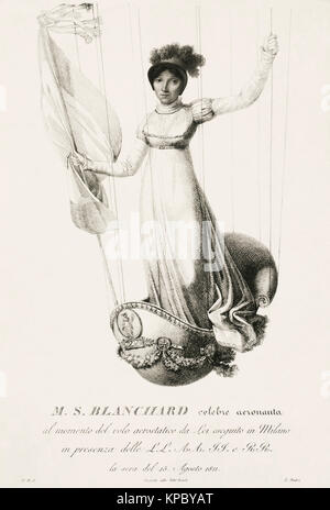 Sophie Blanchard, aka Madame Blanchard, 1778 – 1819. French aeronaut and the wife of ballooning pioneer Jean-Pierre - Stock Photo