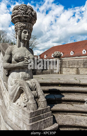mythological sculptures at fountain sprudelhof in bad nauheim - Stock Photo