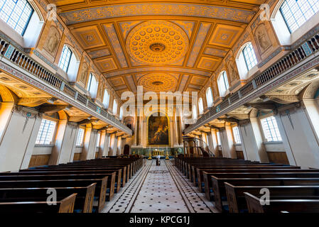 The Painted Hall, Old Royal Naval College, Greenwich, London, England, Großbrittanien, England - Stock Photo