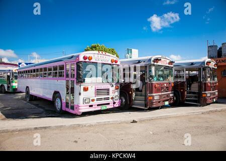 CHETUMAL, MEXICO - DEC 16, 2015 :  Bus stop for Belize in Chetumal on Dec 16, 2015. Mexico. - Stock Photo