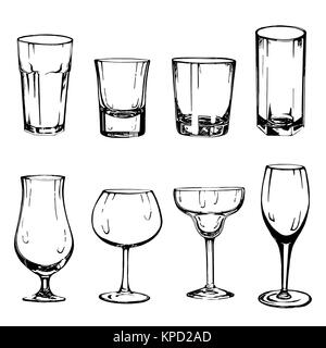 Set of hand drawn sketch style glasses. Vector illustration isolated on white background. - Stock Photo