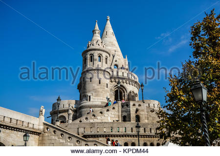 The Halászbástya or Fisherman's Bastion, a neo-gothic and Romanesque fortress at Castle Hill in the Budapest Castle - Stock Photo