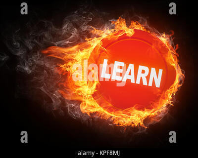 Learn Word in Fire. Computer Graphics. - Stock Photo