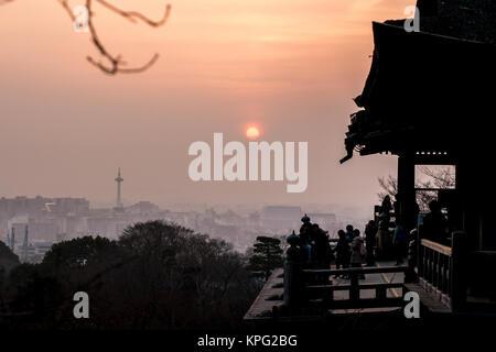 Kyoto, Japan - February 25, 2014 -  Kyoto skyline from the Kiyomizu dera shrine - Stock Photo