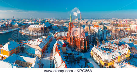 Aerial panorama of Wroclaw in the winter morning - Stock Photo
