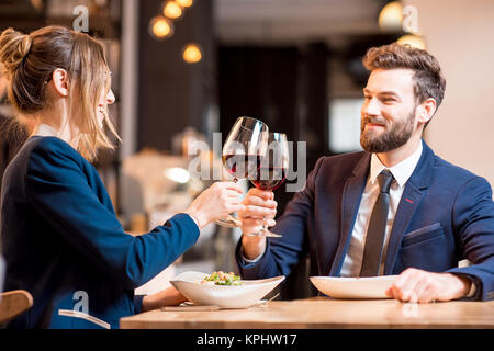 Business dinner at the restaurant - Stock Photo
