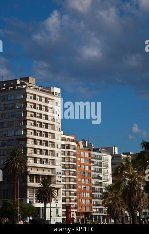 Uruguay, Montevideo Department, Montevideo. Highrise buildings along Playa de los Pocitos, morning. - Stock Photo