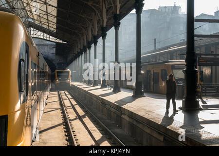 The Sao Bento railway station at  Porto, Portugal - Stock Photo