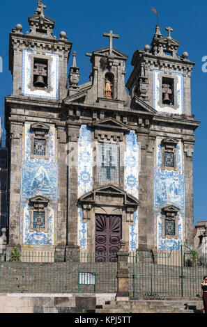 Sao Ildefonso Church, decorated with traditional blue  tiles, azulejos, in the centre of Porto, Portugal - Stock Photo