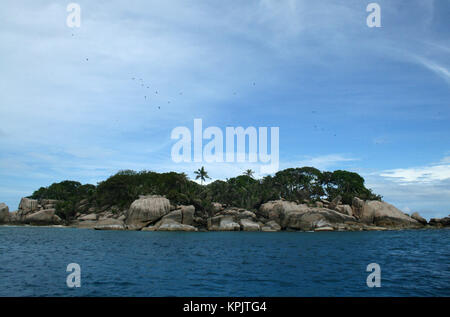 Felicite Island in Ocean standing out, Seychelles. - Stock Photo