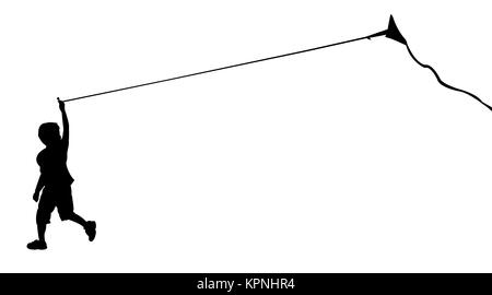 silhouette of running boy with flying kite. Vector illustration - Stock Photo