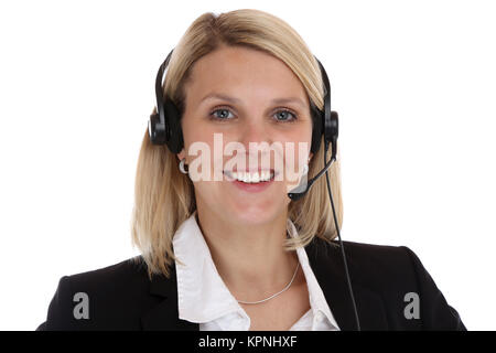 call center woman portrait secretary with headset phone business cut - Stock Photo