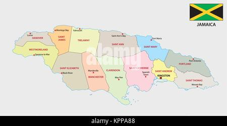 jamaica administrative and political vector map with flag - Stock Photo