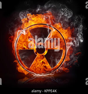 Sign Radiation in the Fire Isolated on Black Background - Stock Photo
