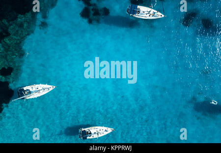Yachts from above, AntiPaxos, Greece - Stock Photo