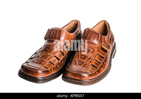 Leather men&#39 s summer shoes - Stock Photo