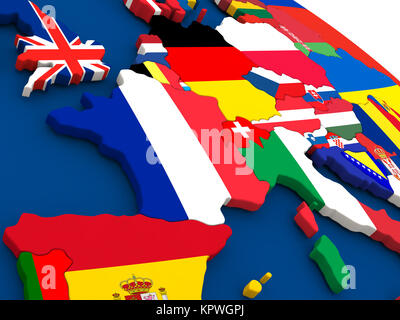 France on globe with flags - Stock Photo