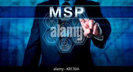 Corporate Manager Pushing MSP - Stock Photo