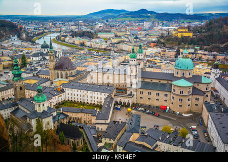Panoramic view from Salzburg Fortress in Christmas time, Austria. - Stock Photo