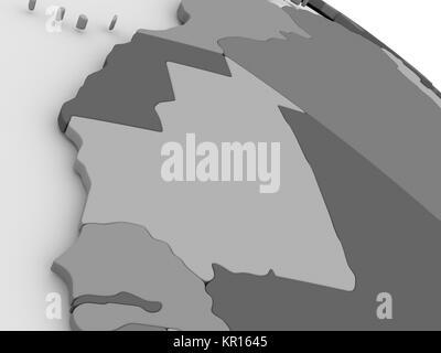 Mauritania on grey 3D map - Stock Photo