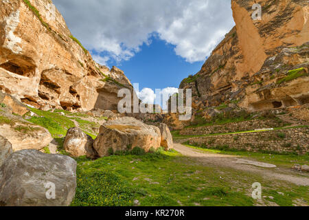 Ancient town of Hasankeyf in Turkey. The town will go under the water of the reservoir of a dam under construction - Stock Photo