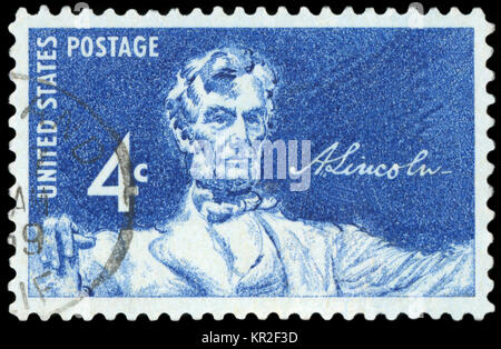 UNITED STATES, CIRCA 1958: A United States Postage Stamp depicting an image of Abraham Lincoln - the 16th President - Stock Photo