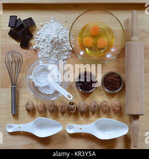 flat lay with baking ingredients as a square - Stock Photo