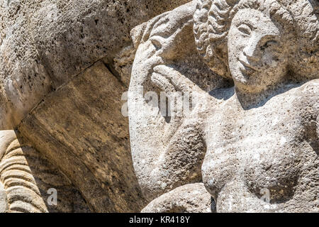 mythological relief in the sprudelhof of bad nauheim - Stock Photo