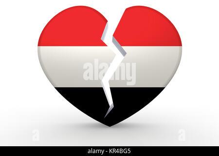 Broken white heart shape with Yemen flag - Stock Photo