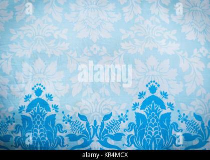 Blue pattern fabric batik background - Stock Photo