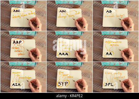 Photo collage of business acronyms written on notebook - Stock Photo