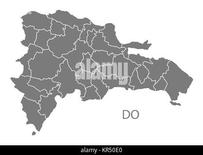 Dominican Republic provinces Map grey - Stock Photo