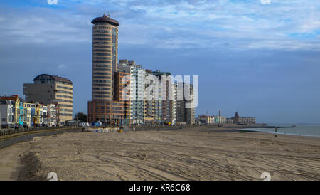 Vlissingen, Zeeland, Holland/Netherlands - October 2017: City beach and huge appartement blocks in the city - Stock Photo