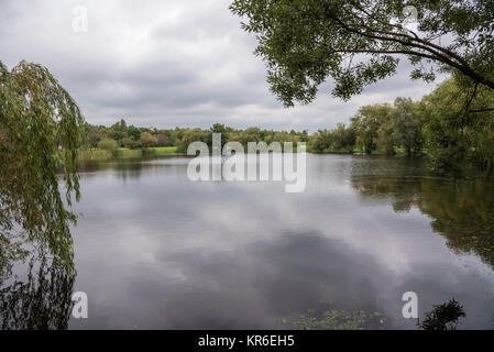 valley of three ponds in katowice on a cloudy day - Stock Photo