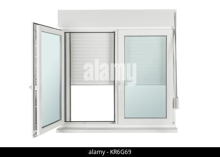 window made of PVC isolated on white - Stock Photo