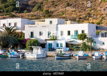 August 24th 2017 - Leros island, Dodecanese, Greece - The small harbor of Panteli village in Leros - Stock Photo