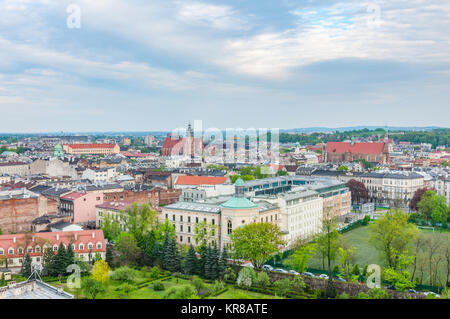 High view on the city of Krakow from Wawel castle - Stock Photo