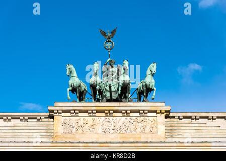detail of the quadriga on the brandenburg gate in berlin - Stock Photo