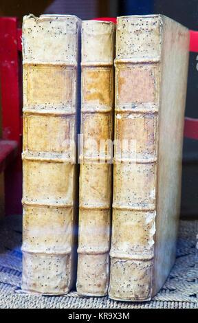 Three very old books standing - Stock Photo
