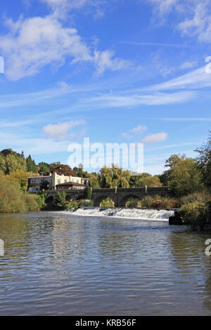 Batheaston Toll Bridge over River Avon, Batheaston, Bath - Stock Photo