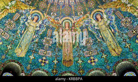 Mosaic tiles representing angels on the dome of the historic 1909 Lakewood Chapel in Minneapolis, Minnesota.  The - Stock Photo