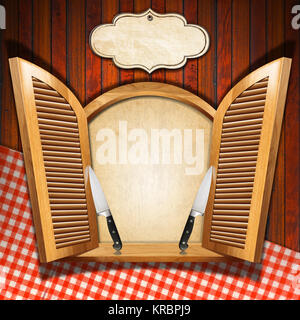 Wooden window with open shutters, empty parchment, two kitchen knives and empty label on wooden wall with red and - Stock Photo