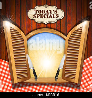 Wooden window with open shutters, empty parchment, two kitchen knives and label with 'today's specials' title. On - Stock Photo