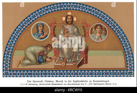 Mosaic of Christ Enthroned, in the mosque of St Sofia Date: 12th century - Stock Photo