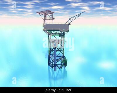 scaffolding a borinsel in the sea - Stock Photo