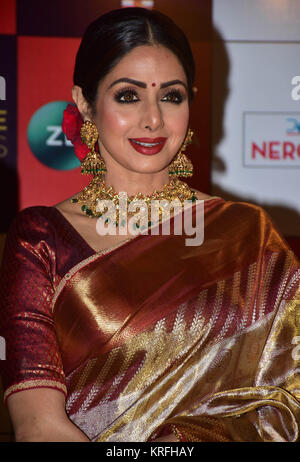 Mumbai, India. 19th Dec, 2017. Indian film actress Sridevi attend the Red carpet event of Zee Cine Awards 2018 at - Stock Photo